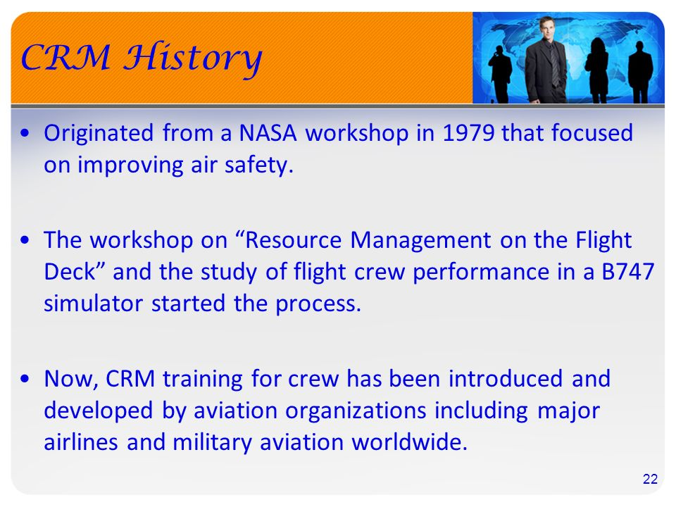 an analysis of the aircraft and crew resource management Inimum required crew resource management (crm) training is defined by regulations, and companies through 1996 involving turbine aircraft weighing more than 12,500 pounds/5,700 kilograms, detailed studies of 76 alas and serious.