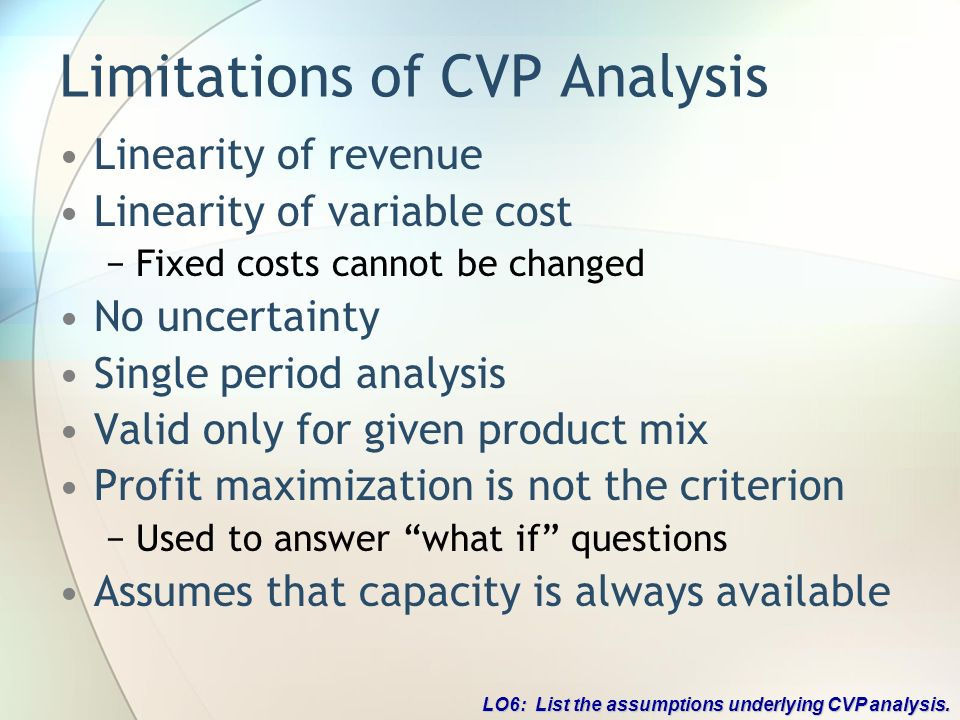 limitations of cvp analysis essay Cost-volume-profit (cvp) analysis is used to determine how changes in costs and volume affect a company's operating income and net income in performing this analysis, there are several assumptions made, including: sales price per unit is constant.