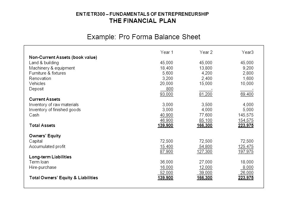 3 year pro forma template