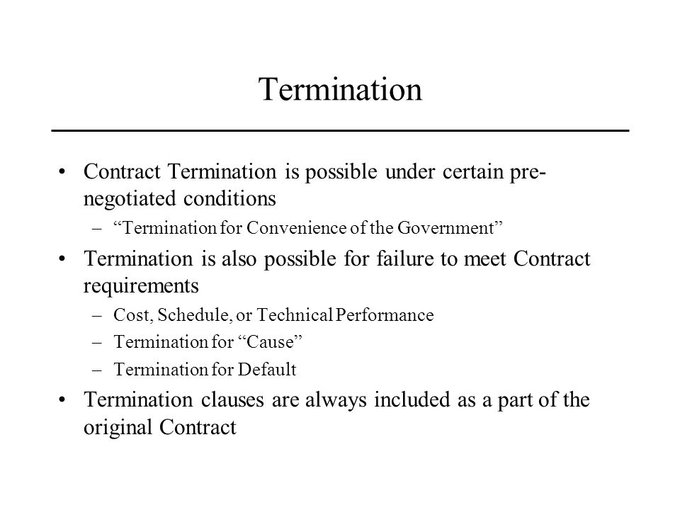 termination for default I historical background of the termination for convenience clause the termination for default versus a termination for convenience case law illustrates that there is occasional confusion as to whether a party has been terminated for default or for convenience.