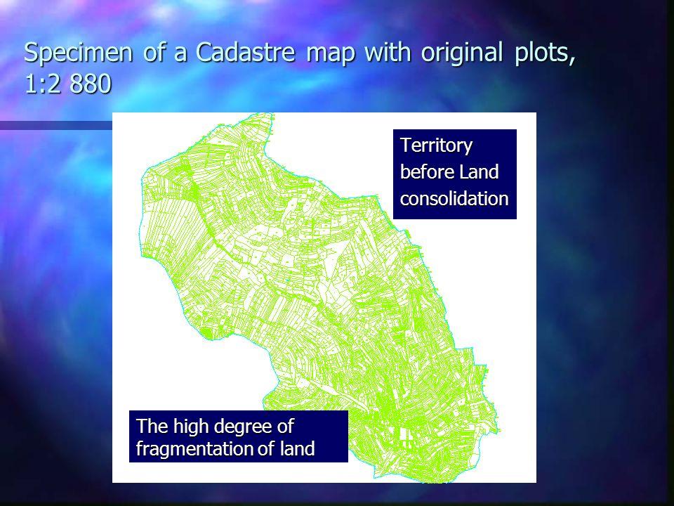 Specimen of a Cadastre map with original plots, 1:2 880