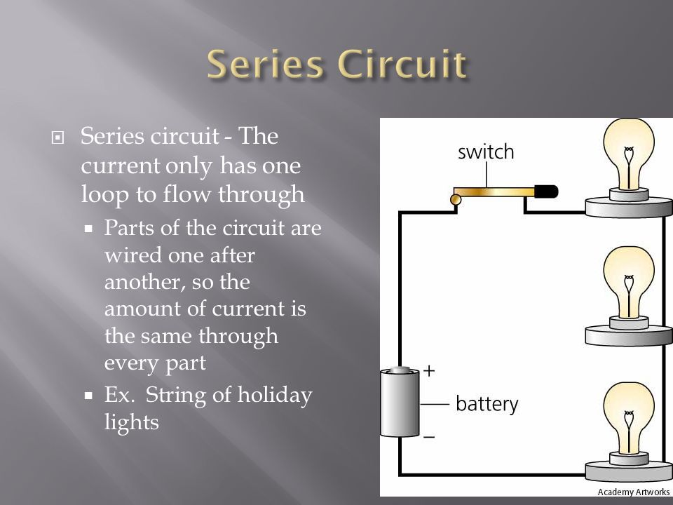 Series Circuit Series circuit - The current only has one loop to flow through.