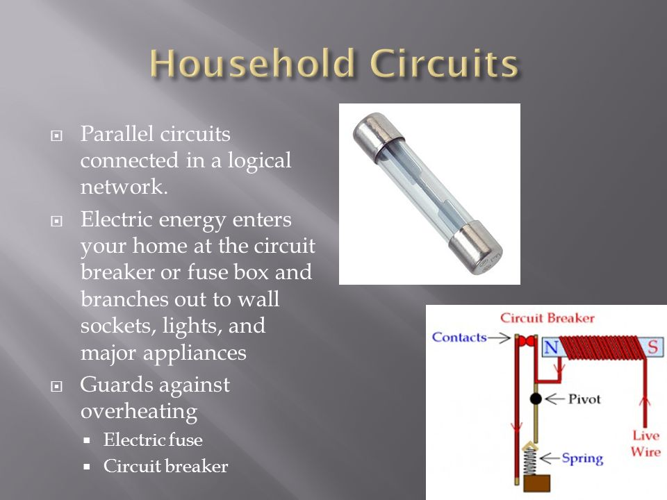 Household Circuits Parallel circuits connected in a logical network.