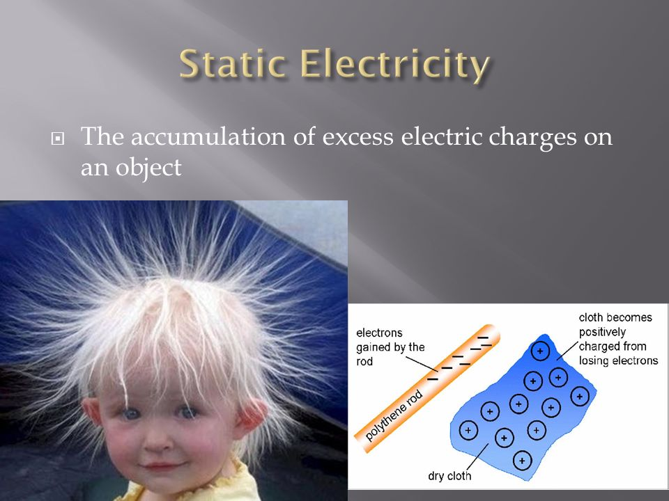 Static Electricity The accumulation of excess electric charges on an object