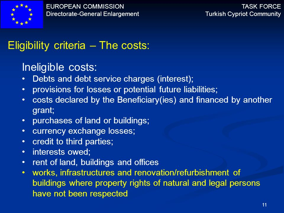 Eligibility criteria – The costs: