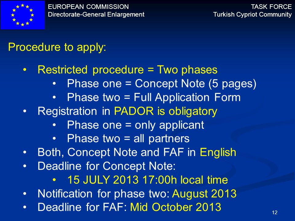 Procedure to apply: Restricted procedure = Two phases. Phase one = Concept Note (5 pages) Phase two = Full Application Form.