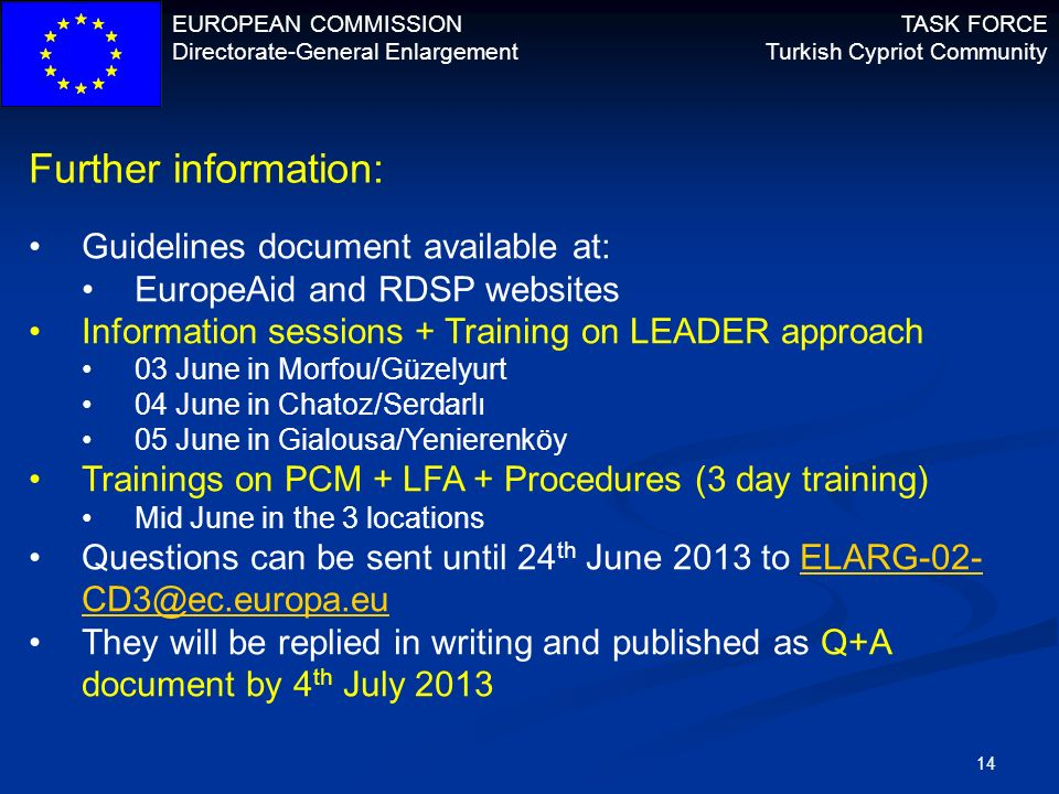 Further information: Guidelines document available at: