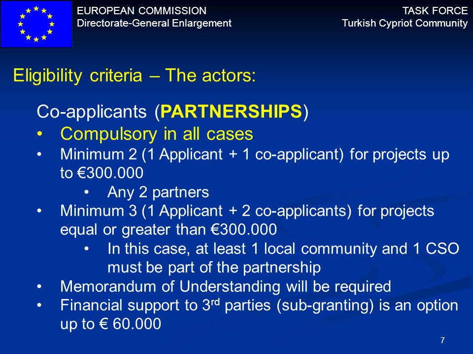 Eligibility criteria – The actors: