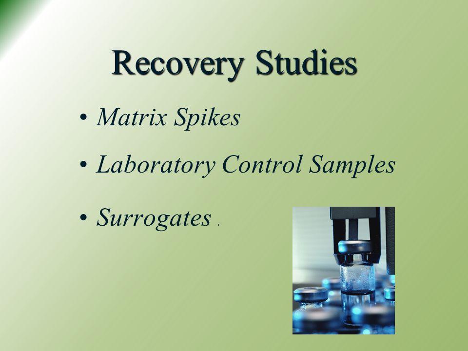 Recovery Studies Matrix Spikes Laboratory Control Samples Surrogates .