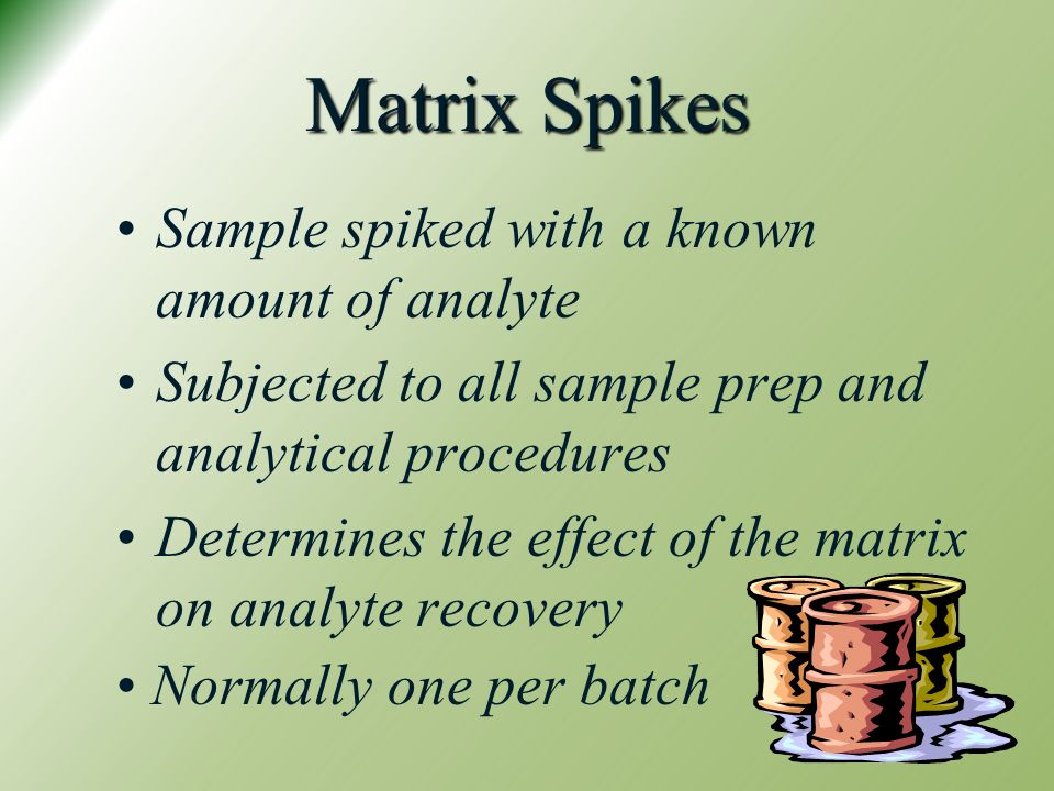 Matrix Spikes Sample spiked with a known amount of analyte