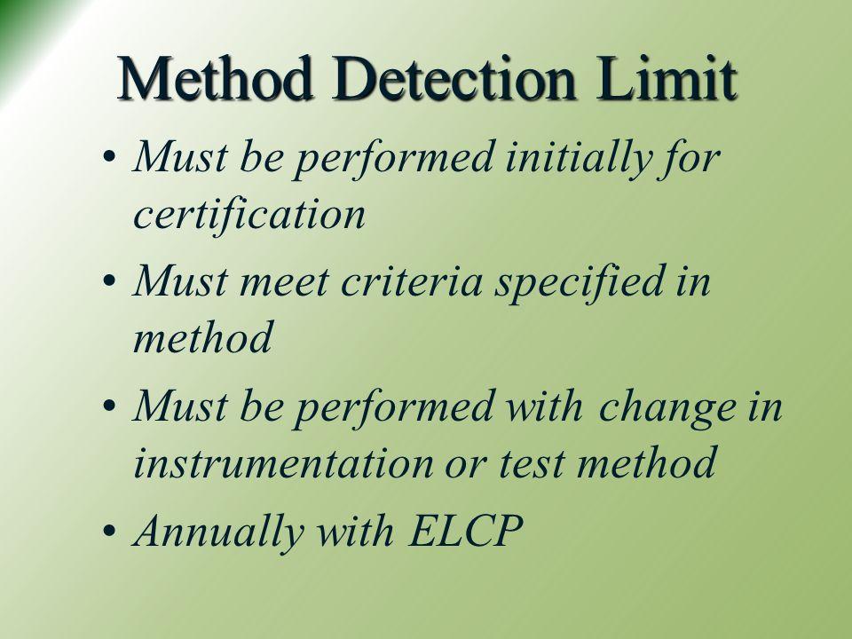 Method Detection Limit