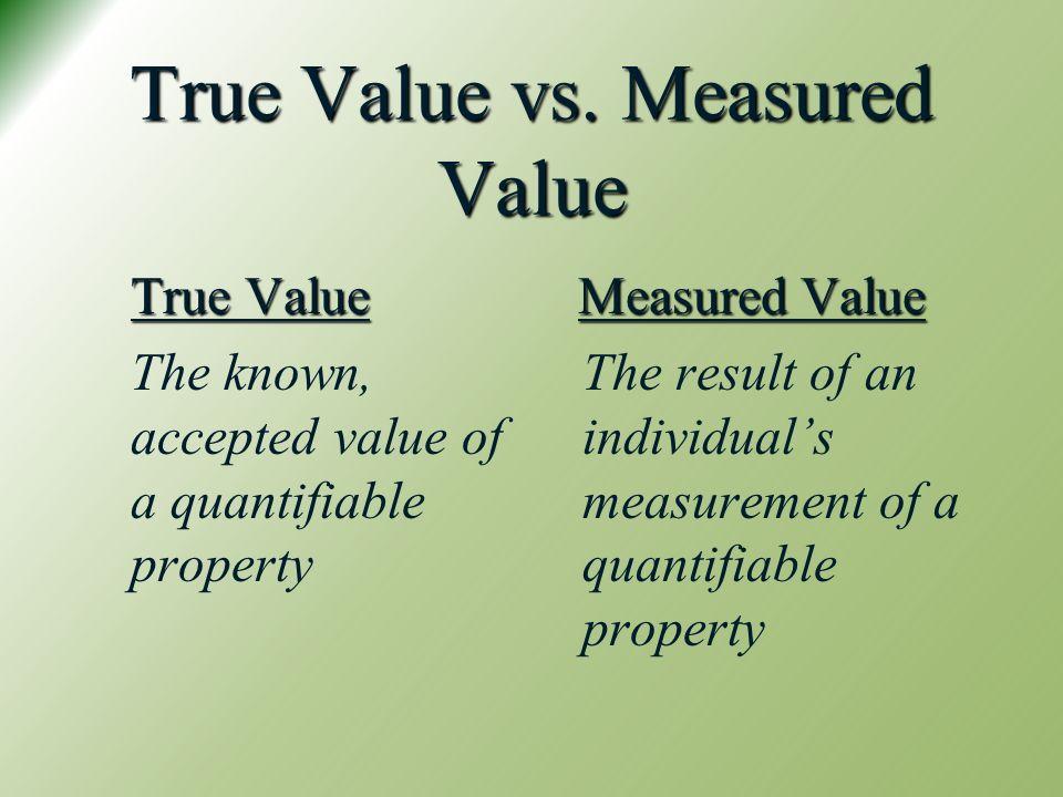 True Value vs. Measured Value