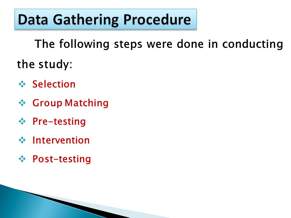data gathering procedures in thesis Research methodology and data collection methods the design outlines procedures for every the main data gathering instrument that shall be used in this.