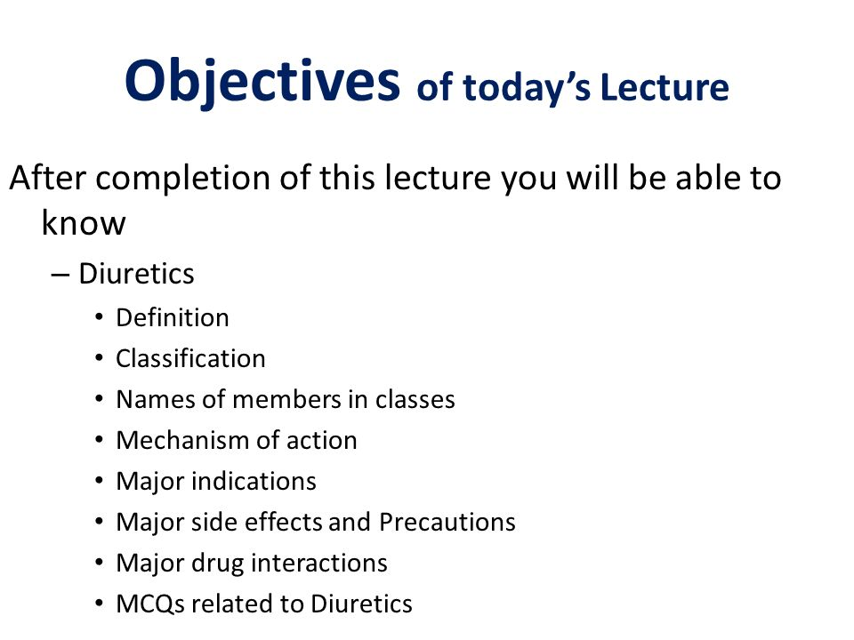 Objectives of today's Lecture