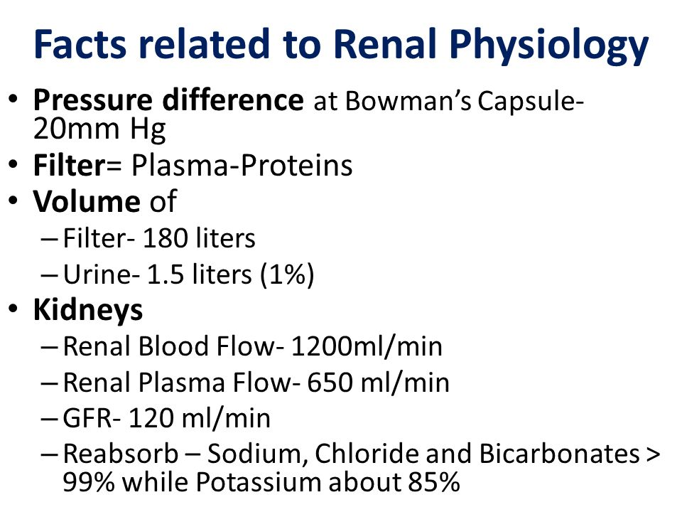 Facts related to Renal Physiology