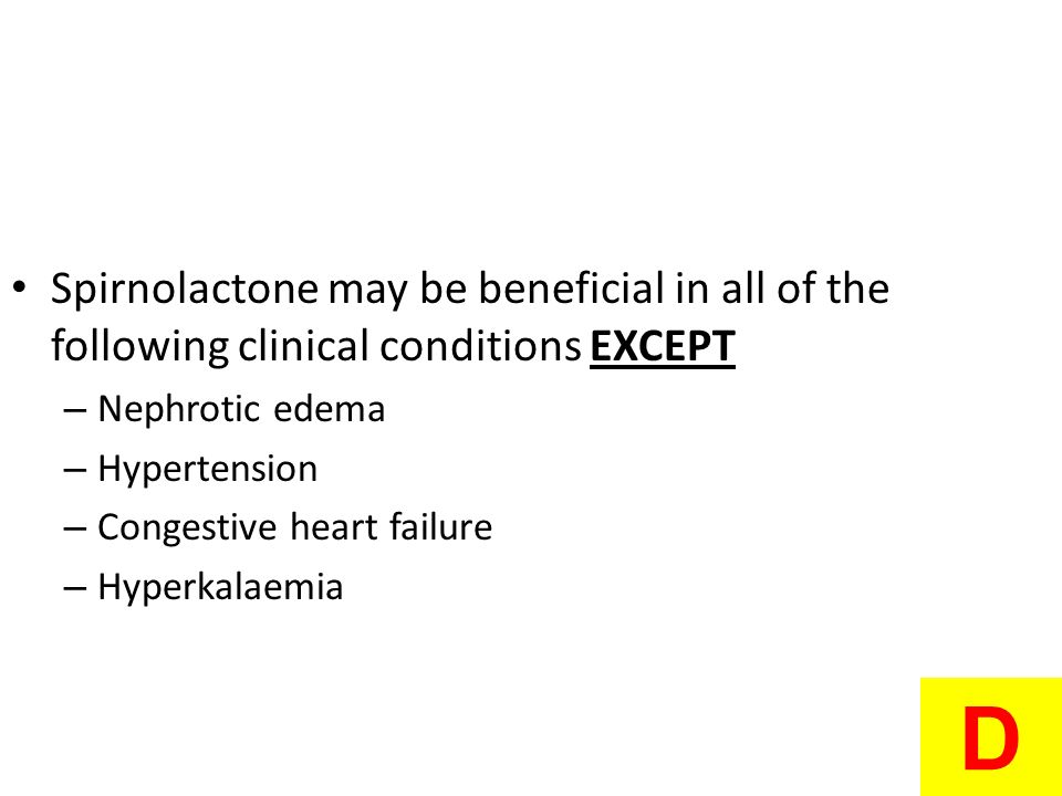 Spirnolactone may be beneficial in all of the following clinical conditions EXCEPT