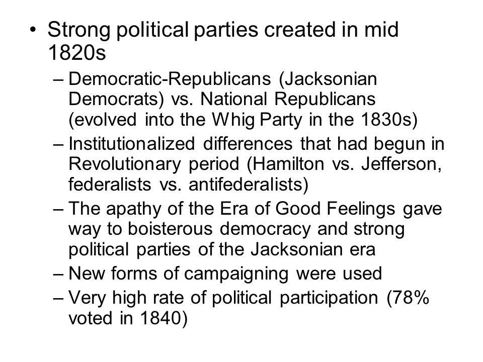 Strong political parties created in mid 1820s