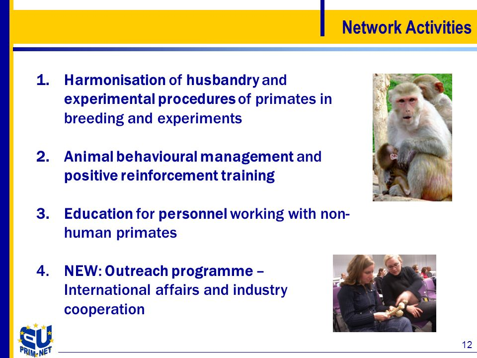 Network Activities Harmonisation of husbandry and experimental procedures of primates in breeding and experiments.