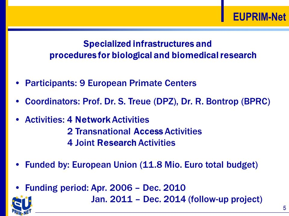 EUPRIM-Net Specialized infrastructures and procedures for biological and biomedical research. Participants: 9 European Primate Centers.