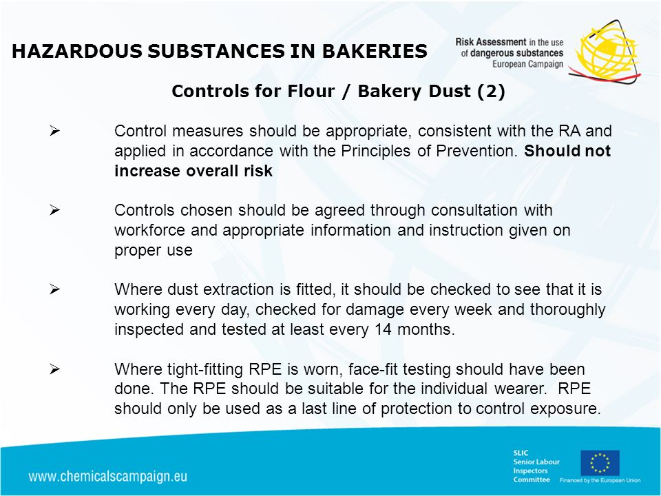 HAZARDOUS SUBSTANCES IN BAKERIES Controls for Flour / Bakery Dust (2)