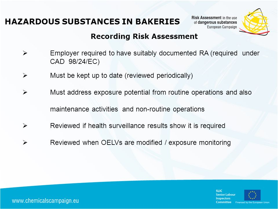HAZARDOUS SUBSTANCES IN BAKERIES Recording Risk Assessment