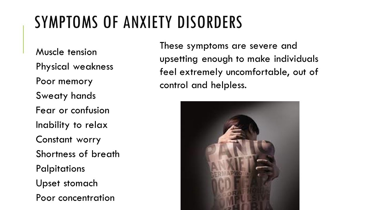 the anxiety disorders Anxiety disorders anxiety is a normal response to stress but when it becomes hard to control and affects your day-to-day life, it can be disabling.