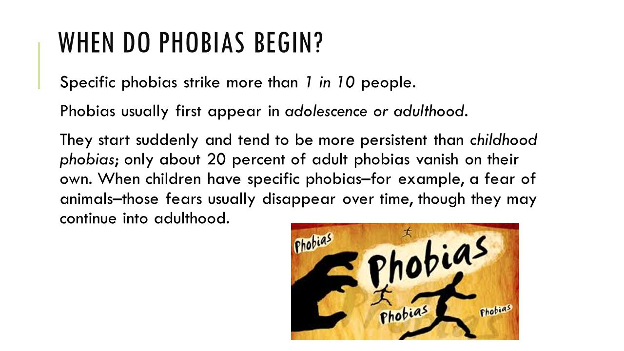 specific phobias A phobia is a type of anxiety disorderit is a strong, irrational fear of something that poses little or no real danger there are many specific phobias acrophobia is a fear of heights.