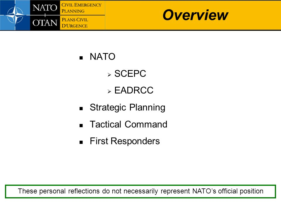 Overview NATO SCEPC EADRCC Strategic Planning Tactical Command
