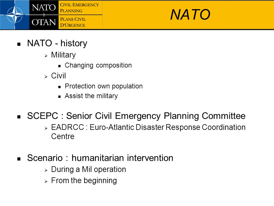 NATO NATO - history SCEPC : Senior Civil Emergency Planning Committee