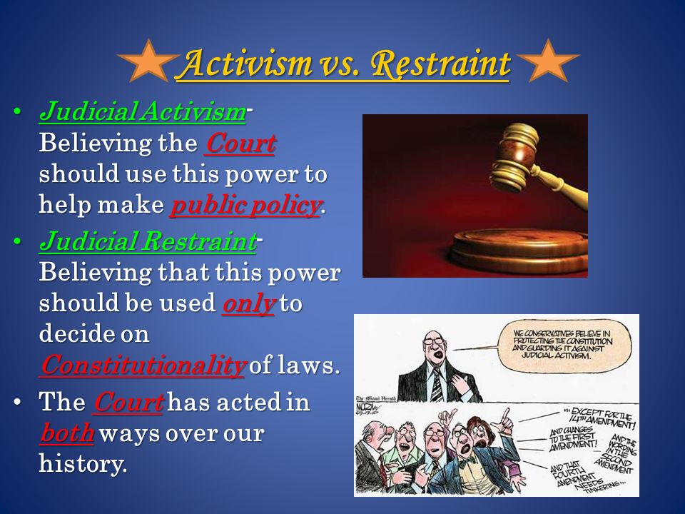 judicial restraint vs judicial activism Judicial politics: examples of judicial activism  in indiana, an example of judicial activism occurred in the ruling in barnes vs state of indiana,.