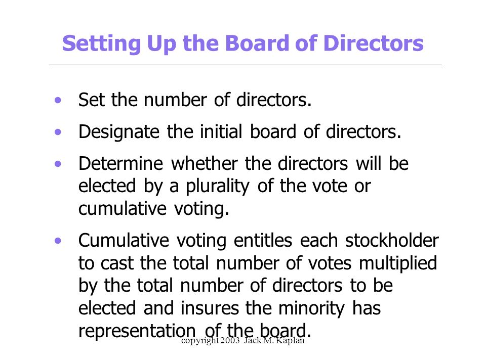 how to set up a board of directors