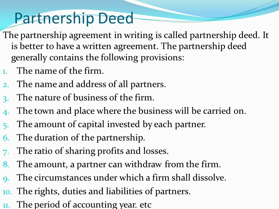 Business law chapter 6 law of partnership ppt video online download partnership deed thecheapjerseys Images