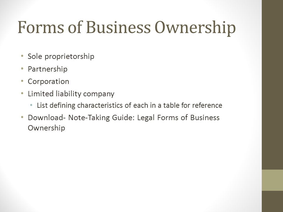 forms of ownership Forms of co-ownership of real estate, including tenants in common, community property, joint tenancy with rights of survivorship, and tenancy by the entirety.