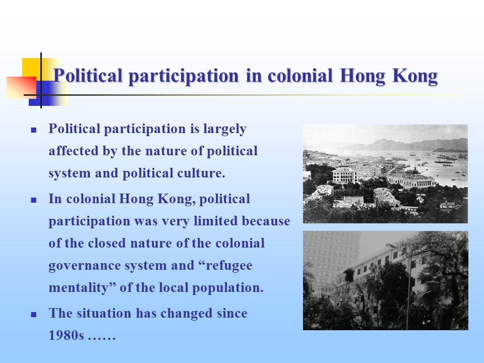 the political participation of hong kong chinese Abstract political participation - a qualitative study of citizens in hong kong thesis in political science, d-level author: liza bergstr m.
