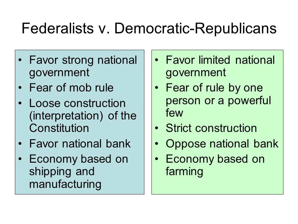 federalists v republicans Competing visions of government: the federalists vs the republicans hamilton (federalist) jefferson (democratic-republican) vision of the role of.