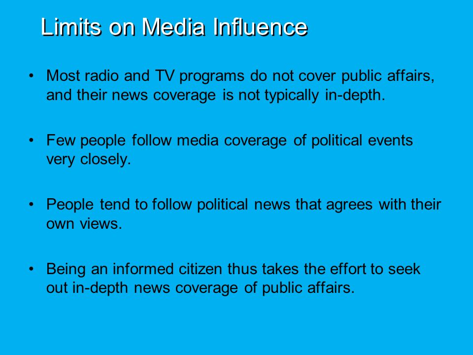 the influence of mass media on people Want to know about the positive and negative media influence on teens & youth  here's the  there is some truth in what people say today.