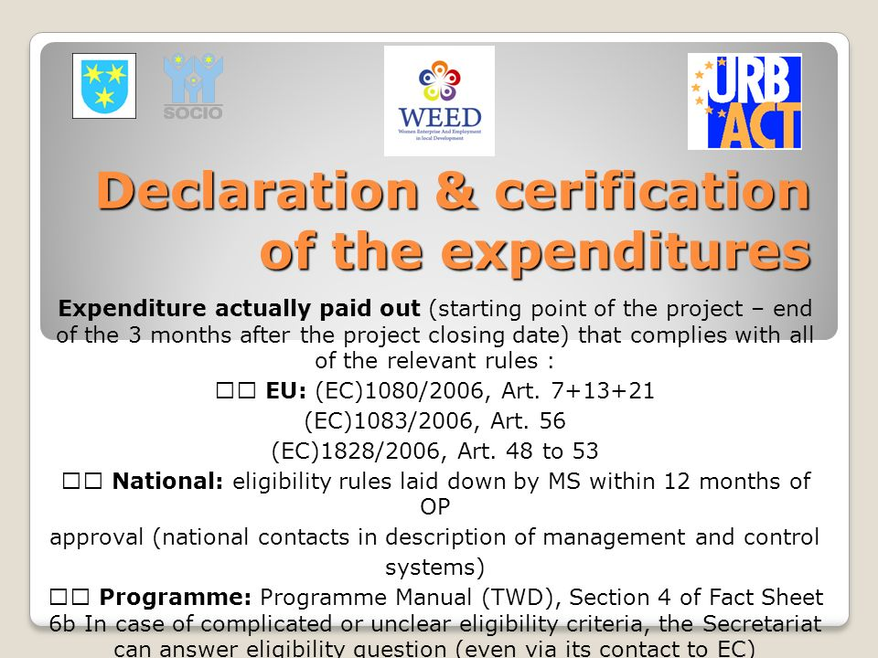 Declaration & cerification of the expenditures