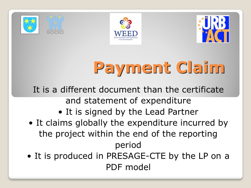 Payment Claim It is a different document than the certificate