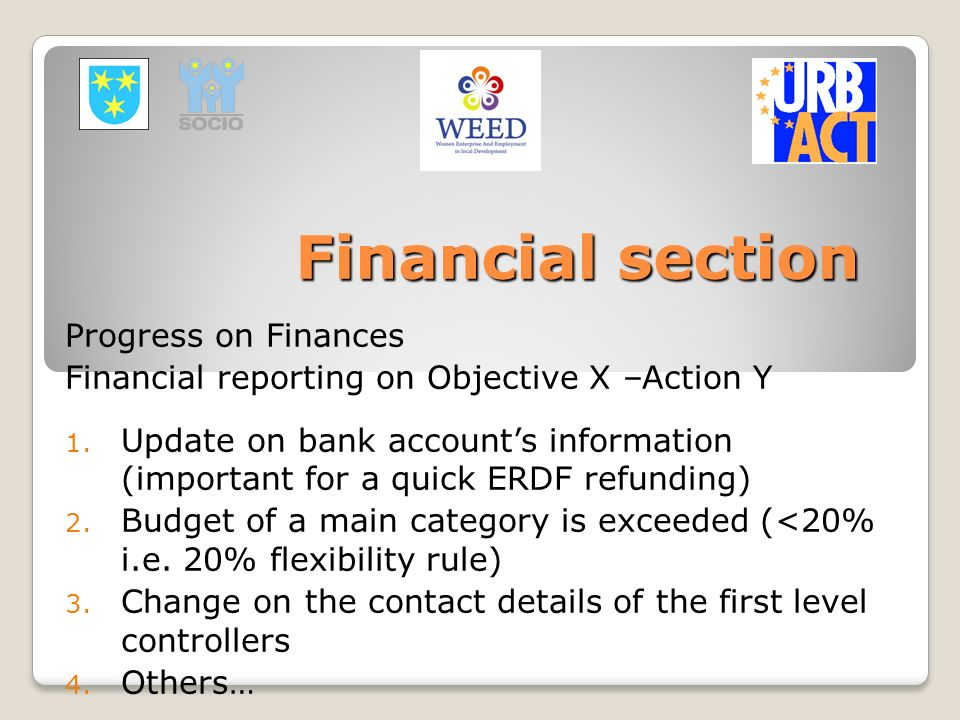 Financial section Progress on Finances