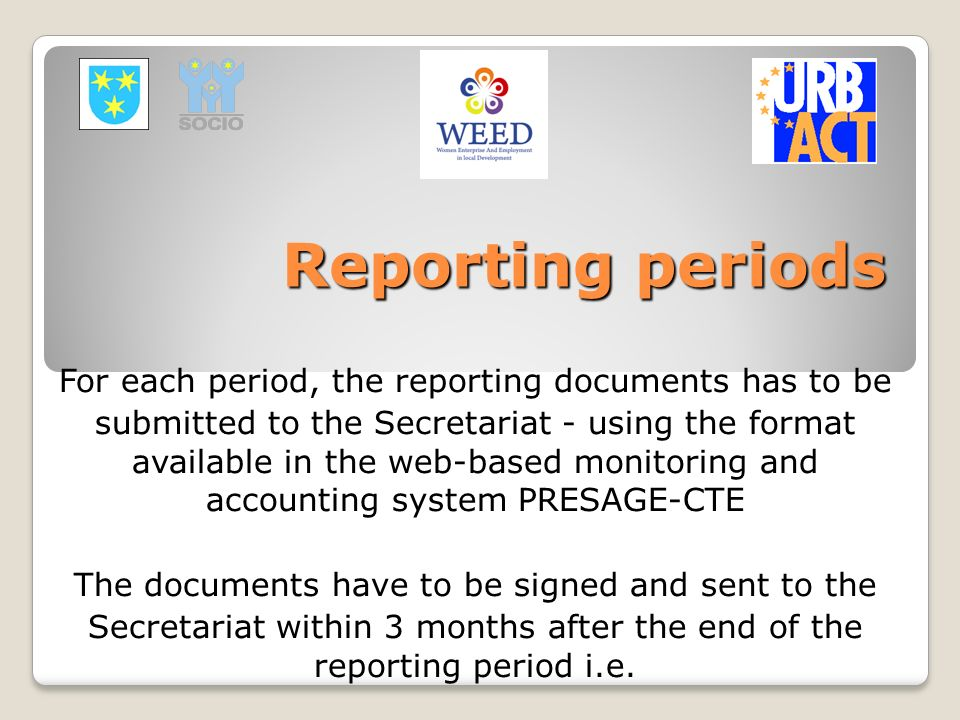 Reporting periods For each period, the reporting documents has to be