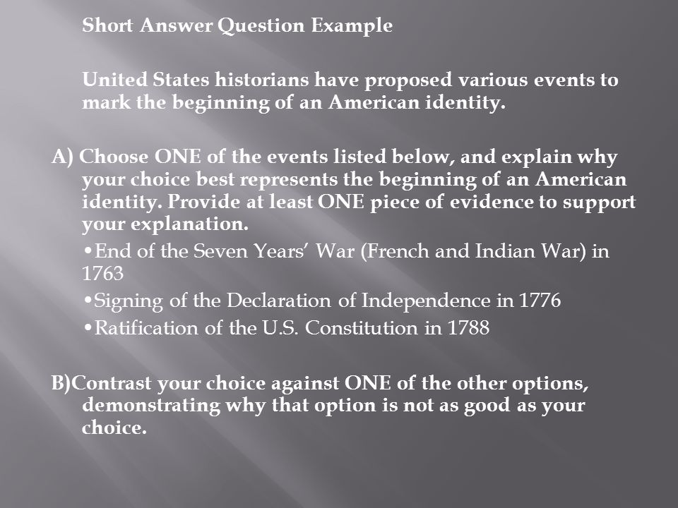 american identity apush dbq essay example Apush materials  these include discussions of american diversity, american  identity,  there will be multiple-choice questions, short answer questions, and  essay questions  essay questions are of two type--dbq and long essay.