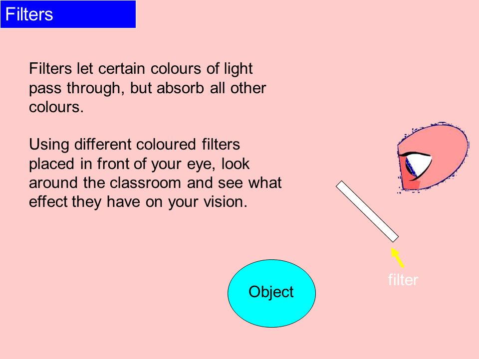 Filters Filters let certain colours of light pass through, but absorb all other colours.