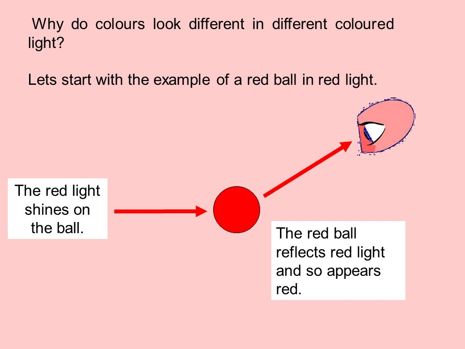 The red light shines on the ball.
