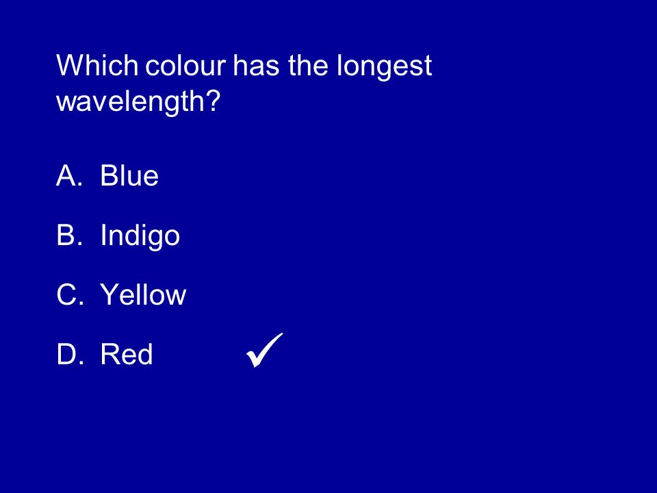 Which colour has the longest wavelength
