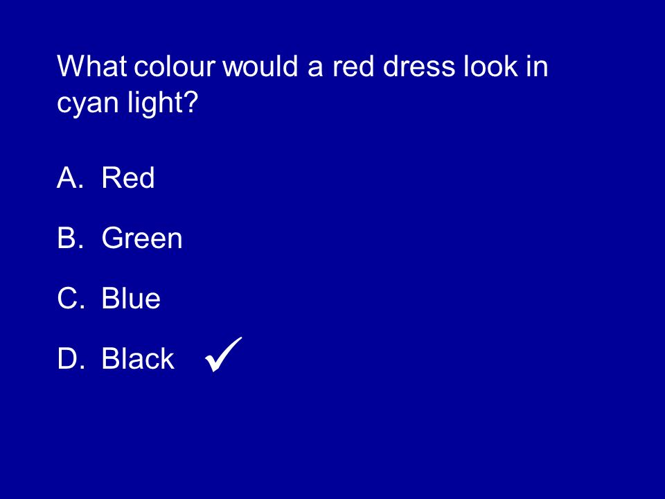 What colour would a red dress look in cyan light