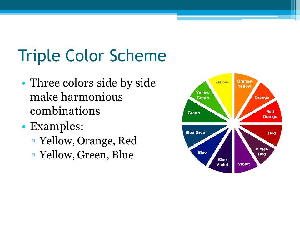 Triple Color Scheme Three Colors Side By Make Harmonious Combinations Examples Yellow