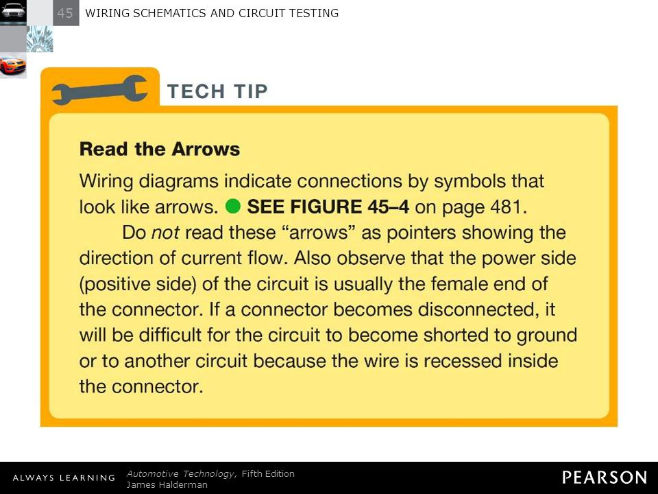 TECH+TIP%3A+Read+the+Arrows+Wiring+diagrams+indicate+connections+by+symbols+that+look+like+arrows.+ +SEE+FIGURE+45%E2%80%934+on+page+481.+Do+not+read+these+arrows+as+pointers+showing+the+direction+of+current+flow.+Also+observe+that+the+power+side+%28positive+side%29+of+the+circuit+is+usually+the+female+end+of+the+connector.+If+a+connector+becomes+disconnected%2C+it+will+be+difficult+for+the+circuit+to+become+shorted+to+ground+or+to+another+circuit+because+the+wire+is+recessed+inside+the+connector. wiring schematics and circuit testing ppt download wiring diagram color coding by jorge menchu at bayanpartner.co