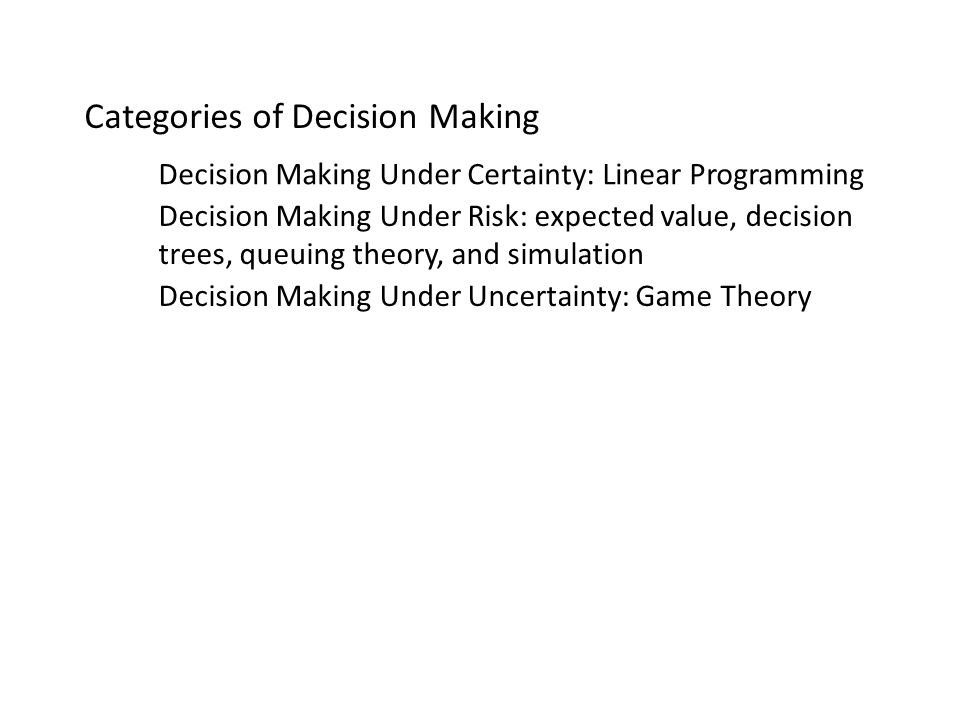 queuing theory in decision making This is the first part of an introduction to multicriteria decision making using the analytic hierarchy process (ahp) and its generalization, the analytic network process (anp) the discussion involves individual and group decisions both with the independence of the criteria from the alternatives as.