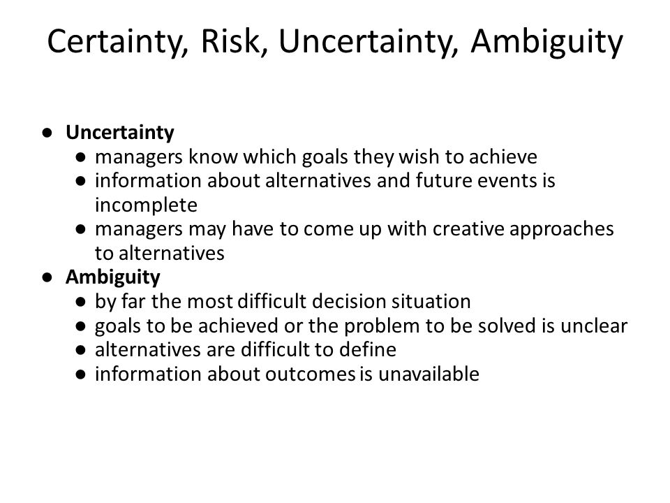 risk and certainty This article introduces the concepts of risk and uncertainty together with the use of probabilities in calculating both expected values and measures of dispersion.