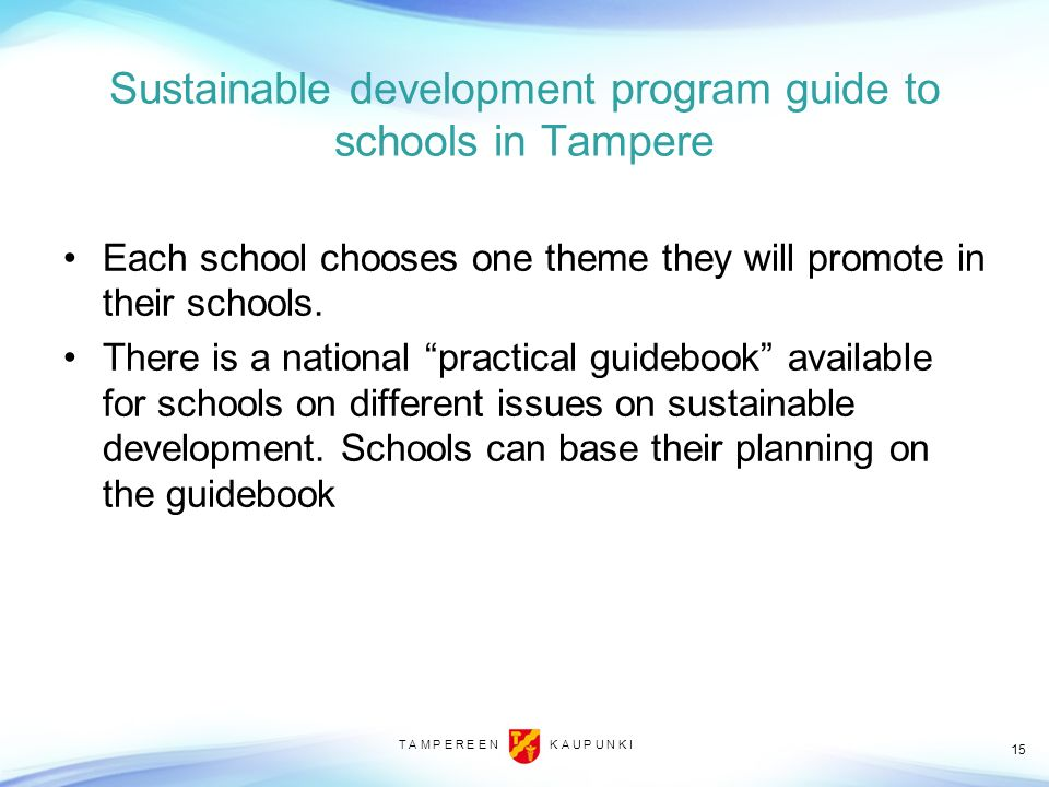 Sustainable development program guide to schools in Tampere